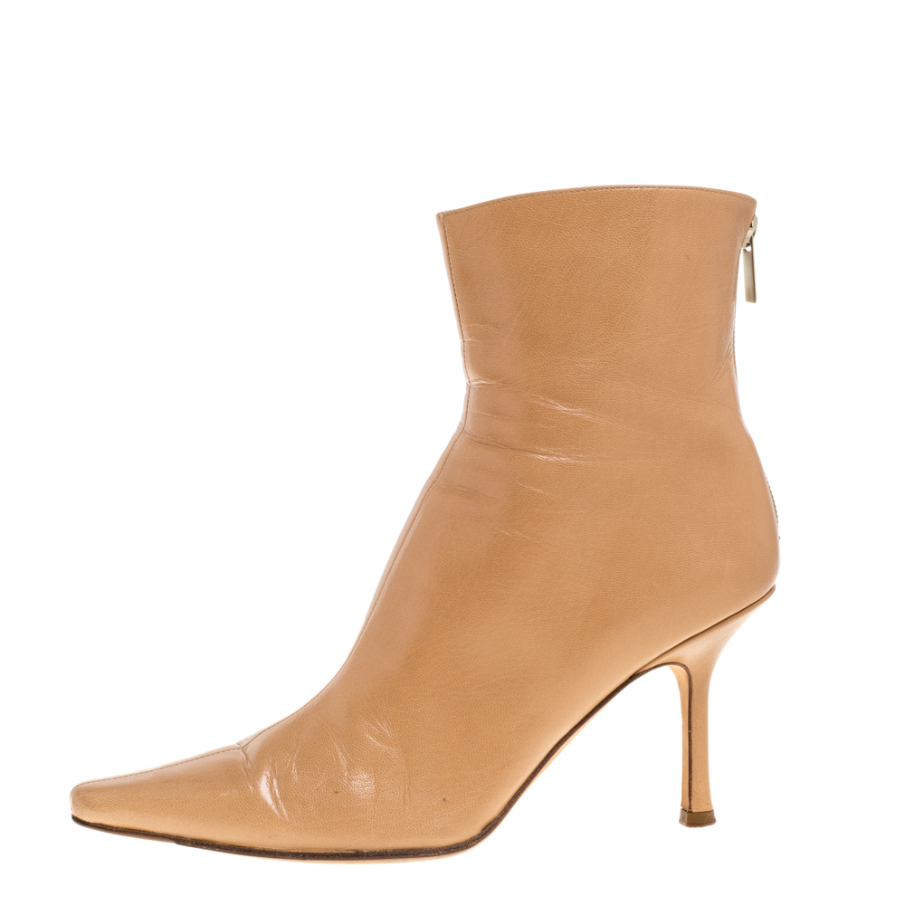 Jimmy Choo Light Brown Leather Zip Pointed Toe Ankle Boots Size 37.5