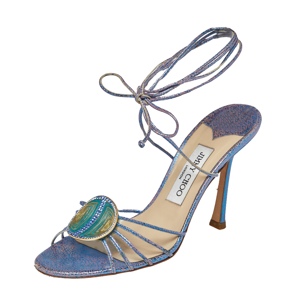 Pre-owned Jimmy Choo Metallic Blue Cracked Leather Border Ankle Wrap Sandals Size 38.5