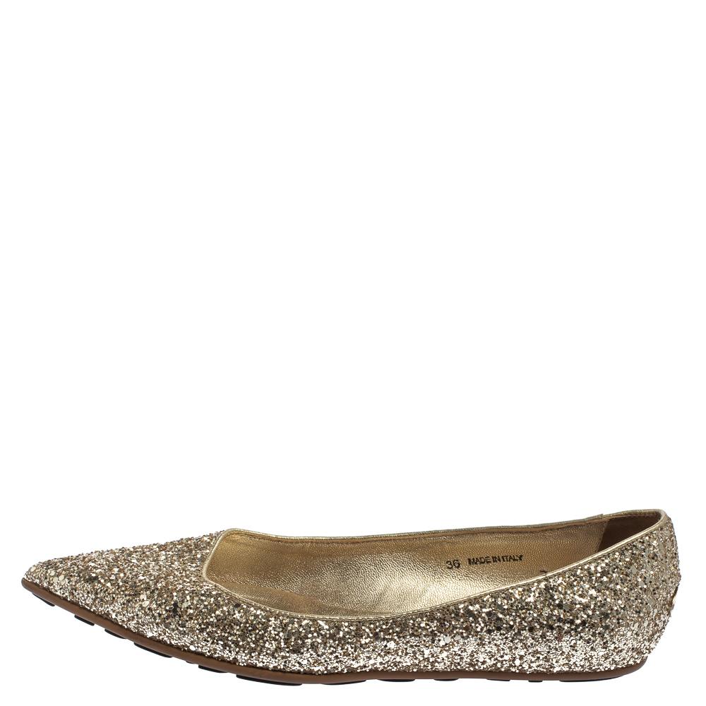 Jimmy Choo Gold Glitter Romy Pointed Toe Flats Size 36