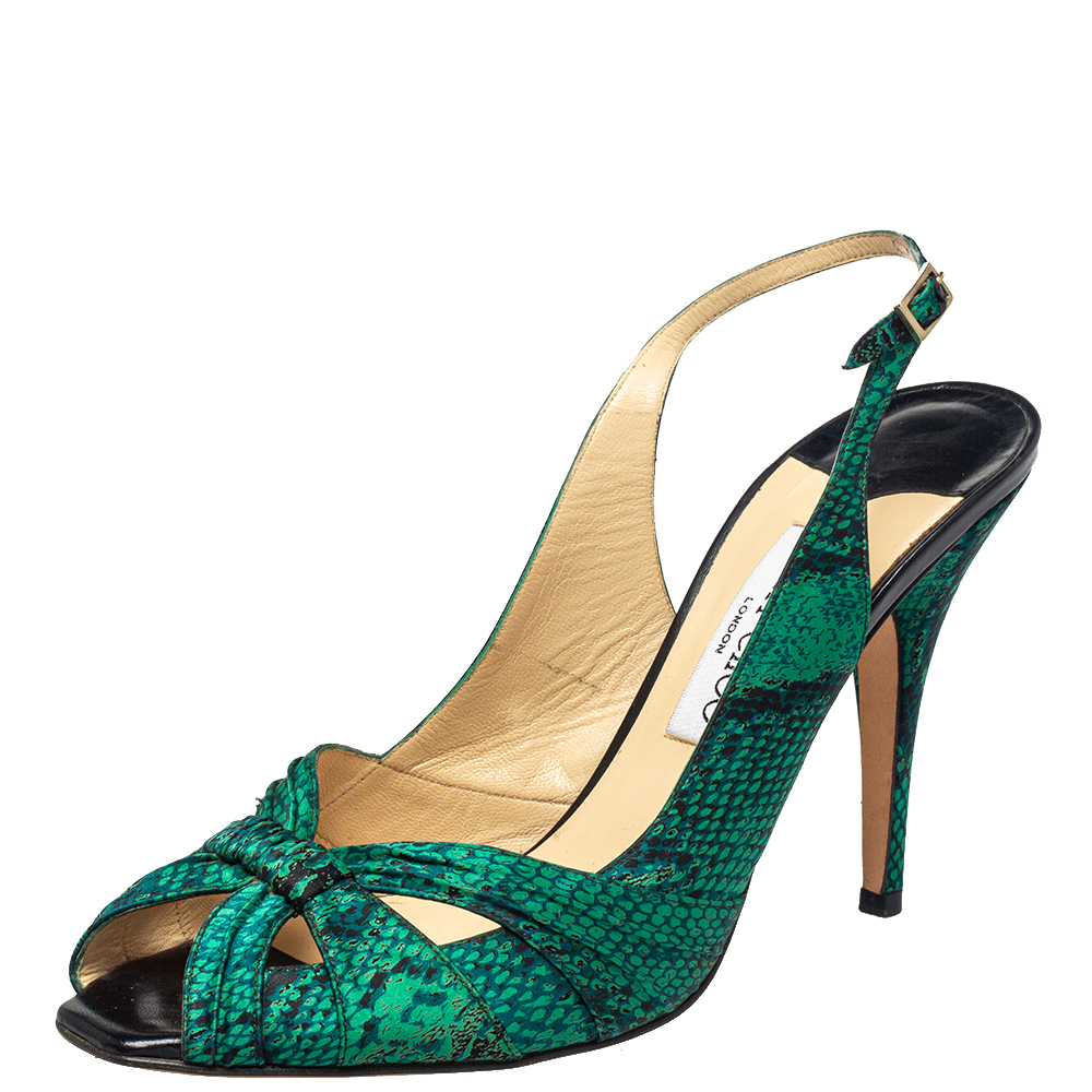 Pre-owned Jimmy Choo Dark Green Python Embossed Leather Sandals Size 40