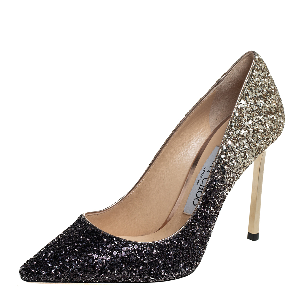 Pre-owned Jimmy Choo Two Tone Coarse Glitter Romy Pointed Toe Pumps Size 35 In Black