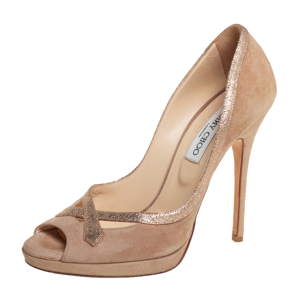Pre-owned Jimmy Choo Beige Suede And Glitter Quick Peep Toe Pumps Size 40