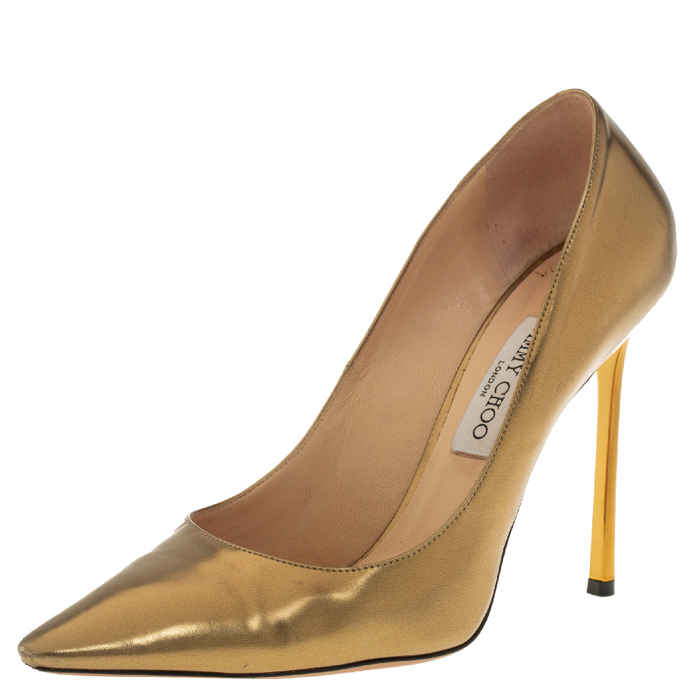 Pre-owned Jimmy Choo Gold Leather Romy Pointed Poe Pumps Size 40.5