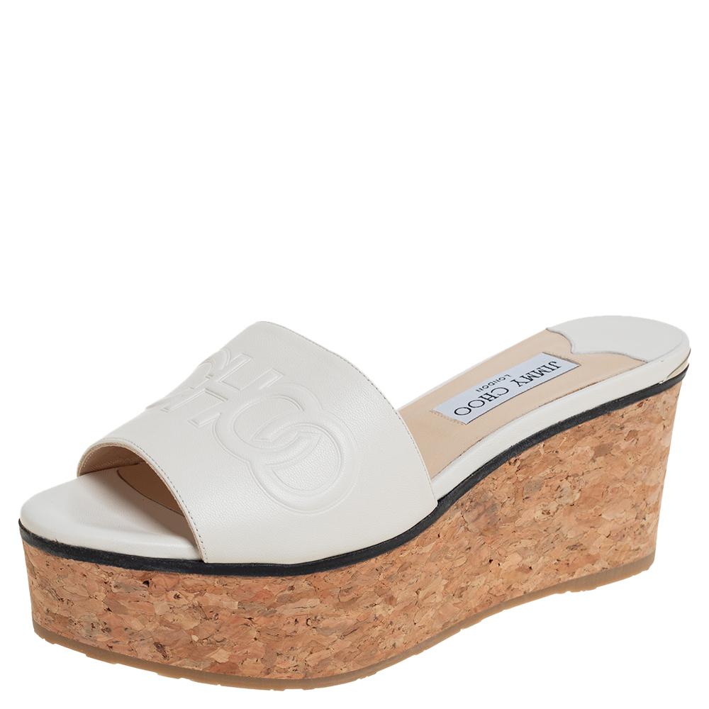 Pre-owned Jimmy Choo White Leather Deedee Cork Wedge Slide Sandals Size 38.5
