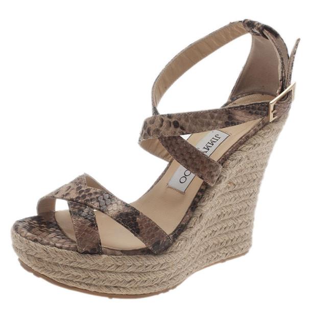4b4d49e80a0 ... Jimmy Choo Snake Print Porto Espadrille Wedge Sandals Size 37.  nextprev. prevnext