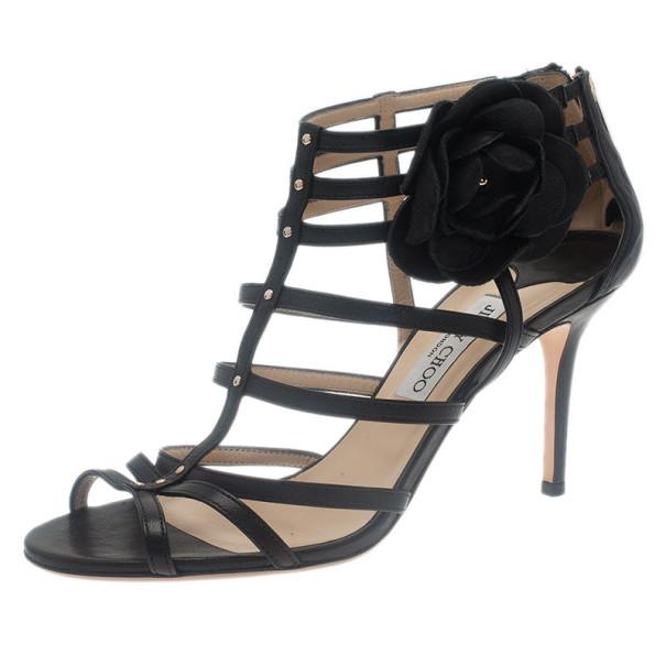 c841a9504df ... Jimmy Choo Black Leather Floral Detail Opulence Gladiator Sandals Size  41. nextprev. prevnext