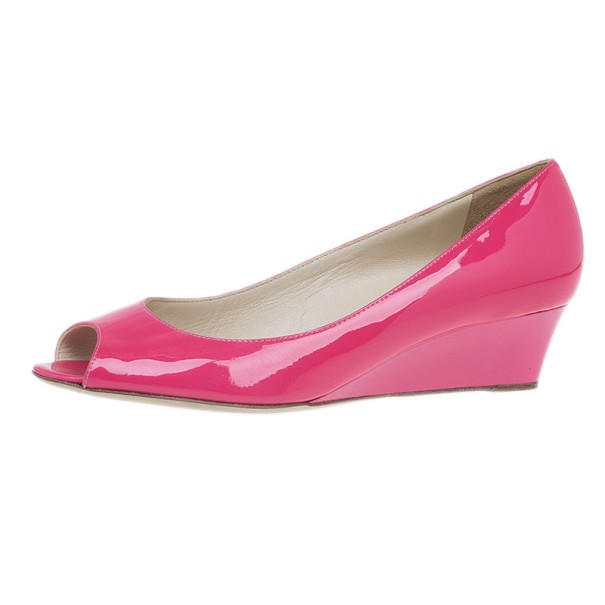 227d7a71b62 Buy Jimmy Choo Pink Patent Bergen Peep Toe Wedges Size 38 7355 at ...