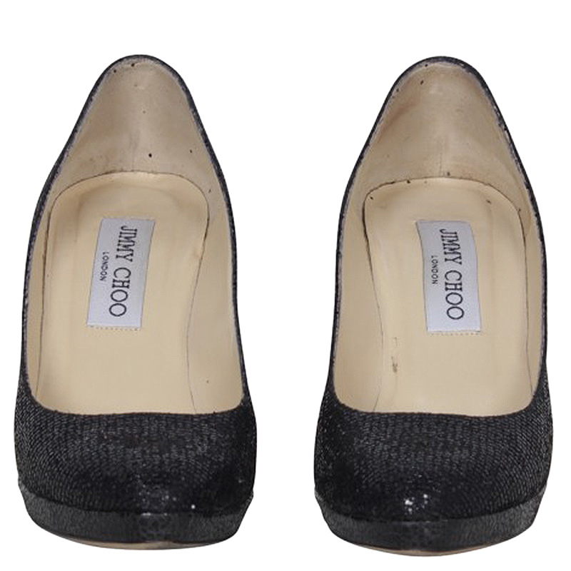 Jimmy Choo Paillettes Noires Aimee Plate-Forme Pompes Taille 35.5