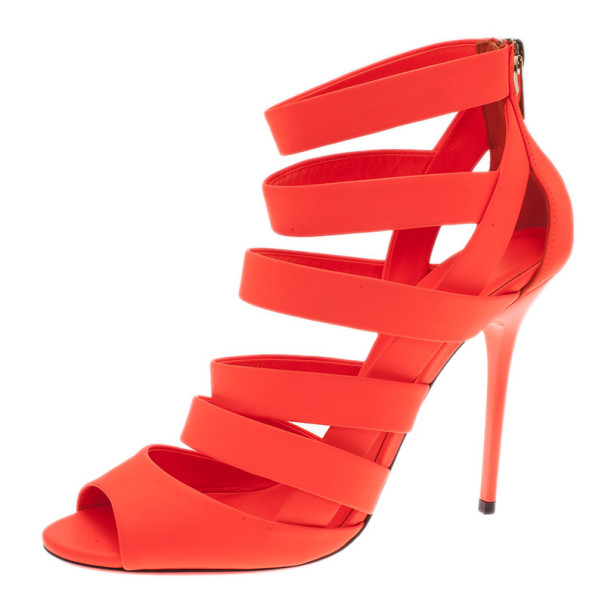 c783545833b1 Buy Jimmy Choo Neon Orange Caged Leather 'Dame' Sandals Size 39.5 9039 at  best price | TLC