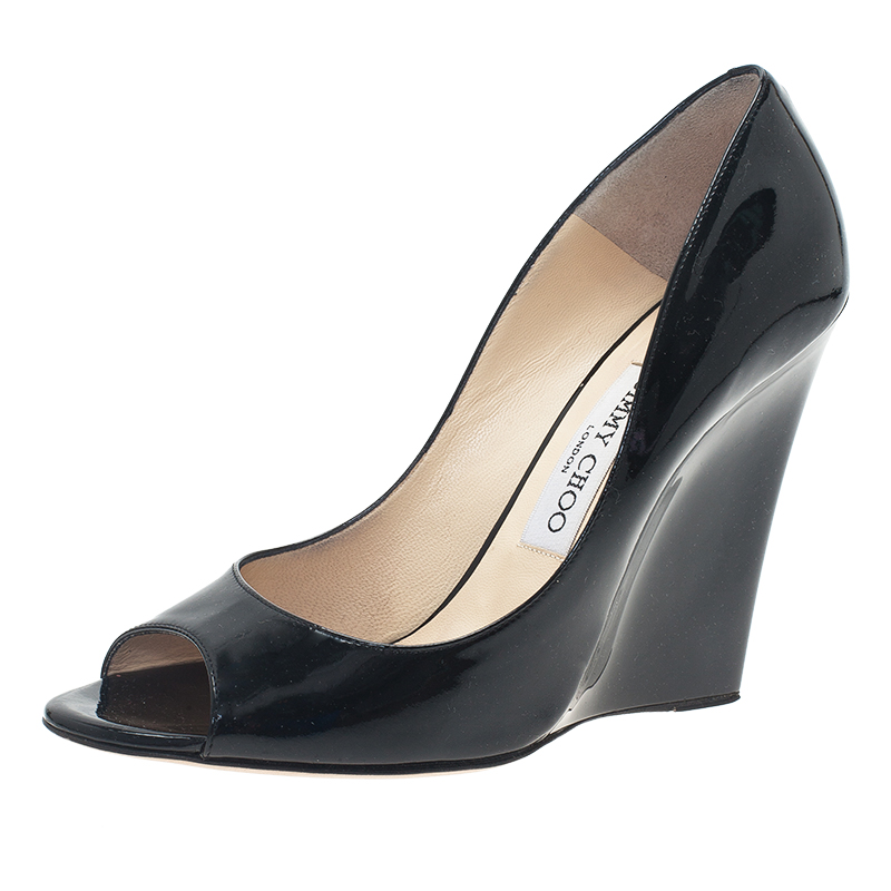 e50ee6c1a4d ... Jimmy Choo Black Patent Baxen Peep Toe Wedge Pumps Size 38.5. nextprev.  prevnext