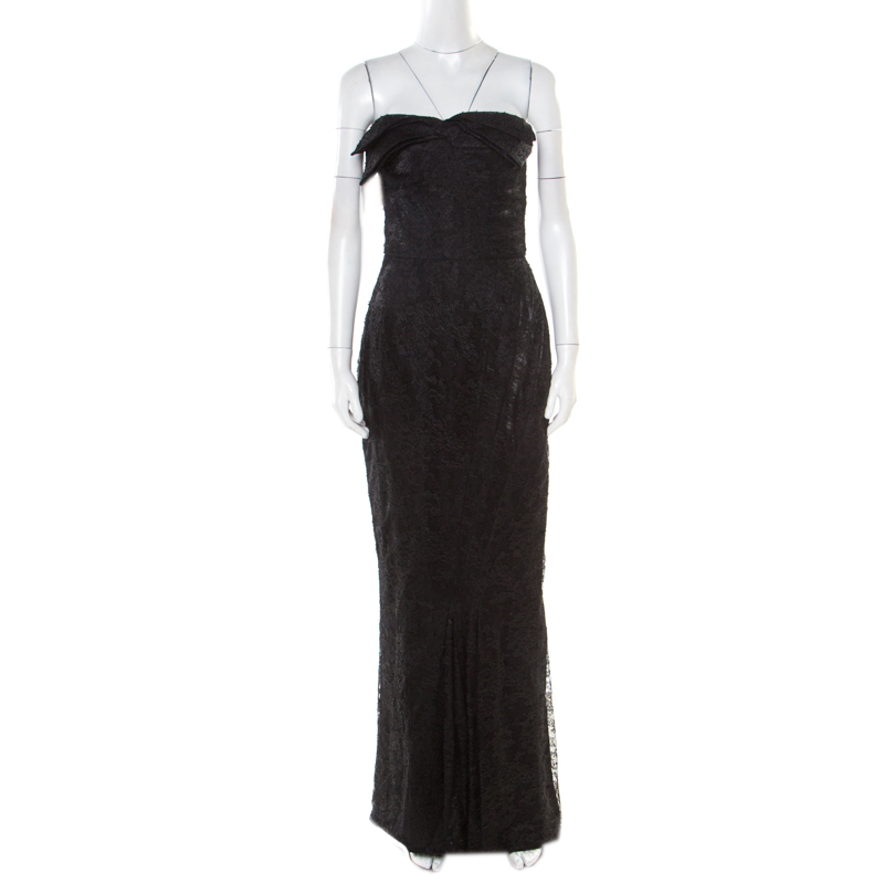 John Galliano Black Floral Lace Draped Bodice Strapless Evening Gown M