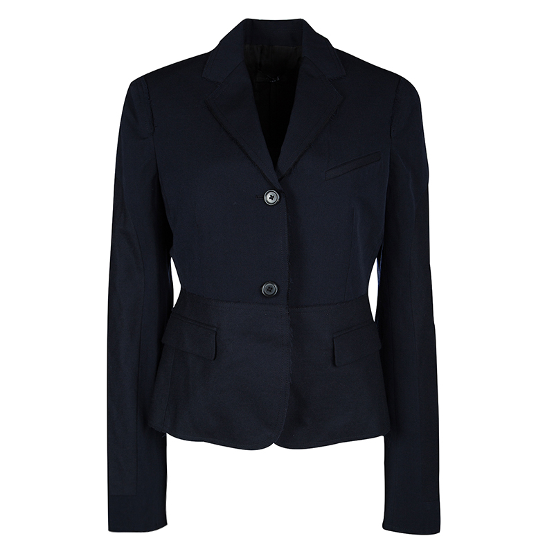 Joseph Navy Blue Gabardine Wool Frayed Trim Detail Bazz Blazer M