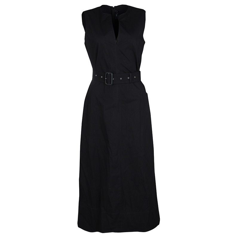13313bb0bc0 Buy Joseph Black Aged Cotton Teddy Sleeveless Belted Maxi Dress M ...
