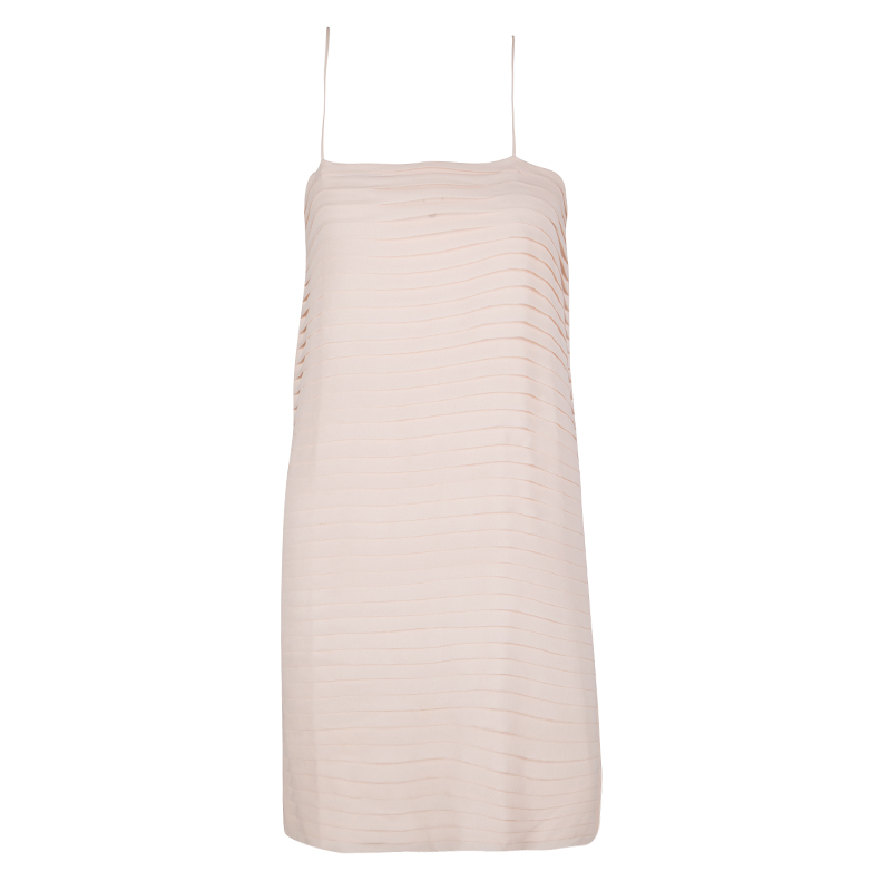 Joseph Blush Pink Pleated Silk Sleeveless Dress S