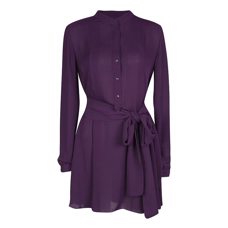 Joseph Purple Silk Belted Long Sleeve Tunic M