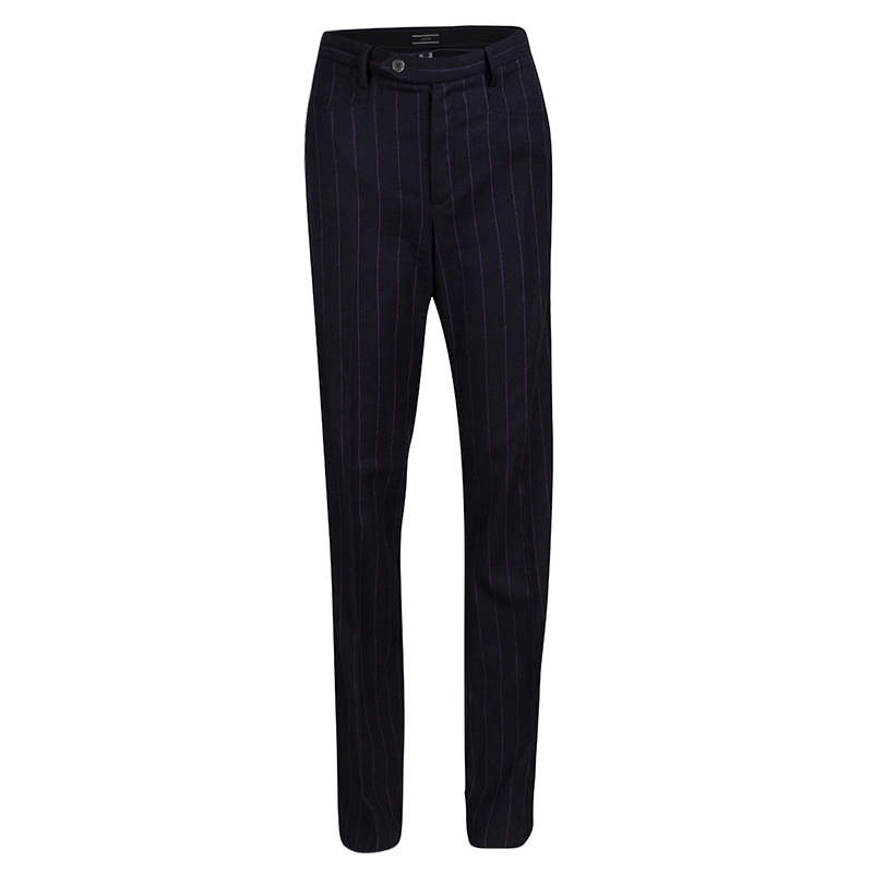 shop for official elegant appearance detailed pictures Joseph Black Striped Wool Trousers L