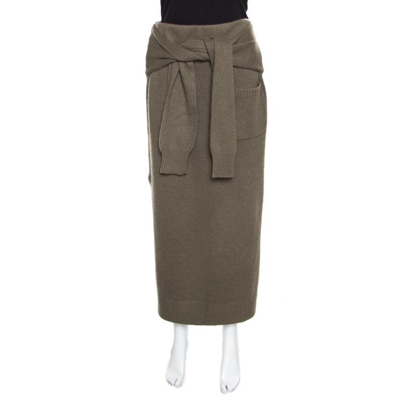 Joseph Khaki Green Cashmere Knot Front Midi Skirt XL