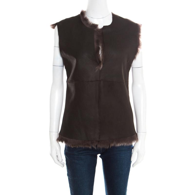 Joseph Brown Fur Lined Leather Vest S