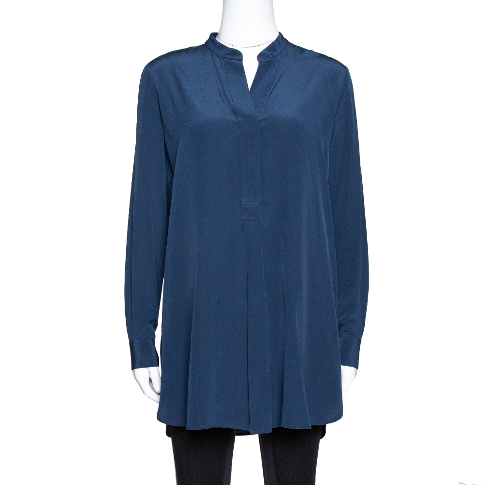 Pre-owned Joseph Midnight Blue Silk Dara Long Sleeve Blouse S In Navy Blue