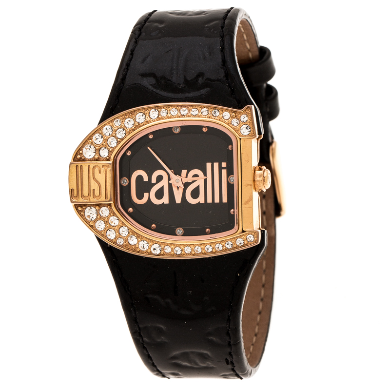 Just Cavalli Black Rose Gold Plated Stainless Steel JC Logo 2H 7251160725 Women's Wristwatch 35 mm