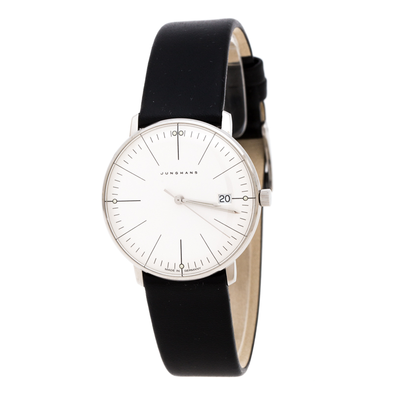 Junghans Silver Stainless Steel Max Bill 047/4251.00 Women's Wristwatch 32.70 mm