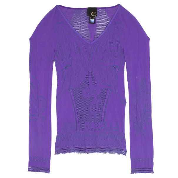 Just Cavalli Purple Perforated Top XXS