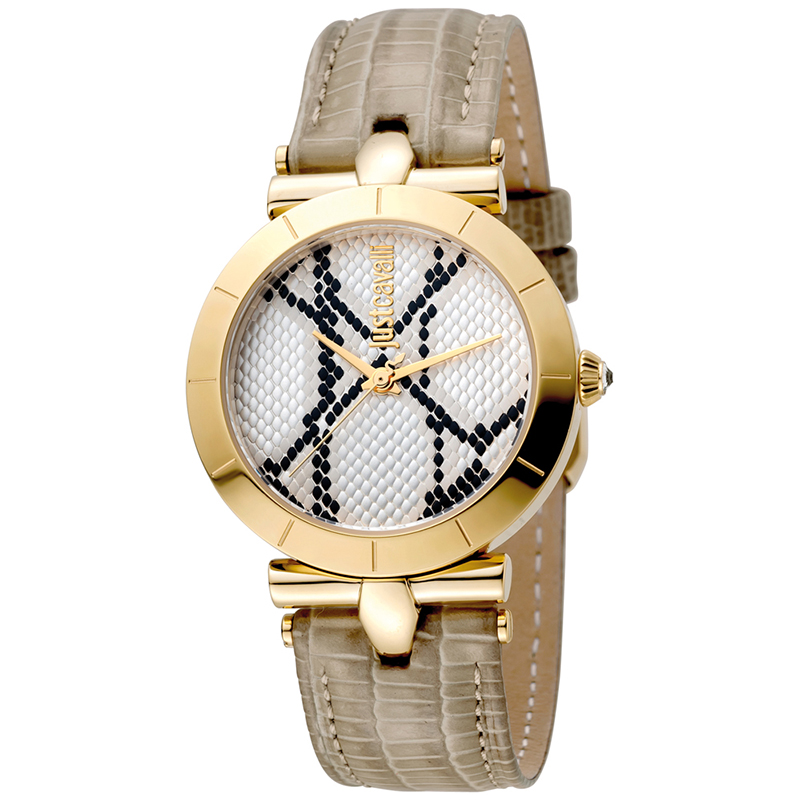 Just Cavalli Silver Gold Plated Stainless Steel Animal JC1L005L0025 Women's Wristwatch 34MM