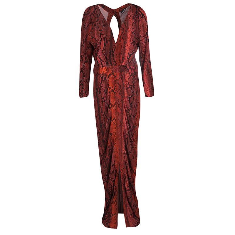 a73a478ee225f ... Just Cavalli Red Python Print Long Sleeve Cutout Back Detail Maxi Dress  L. nextprev. prevnext