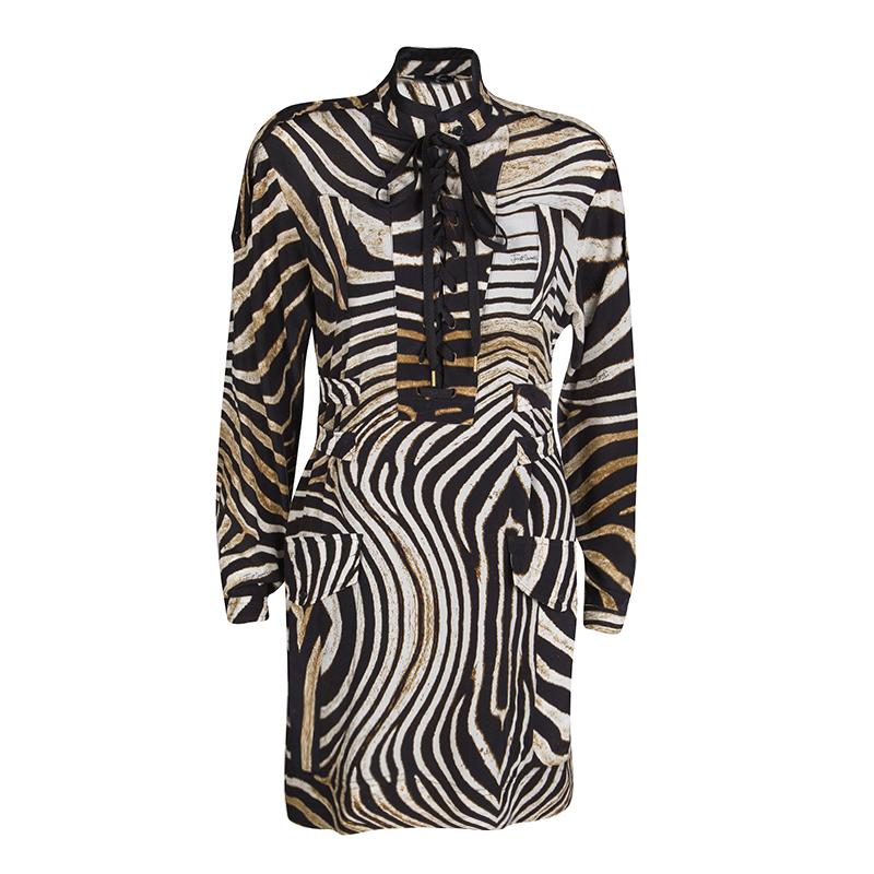 1a944af49c84fa ... Just Cavalli Animal Print Tie Up Front Long Sleeve Silk Tunic M.  nextprev. prevnext