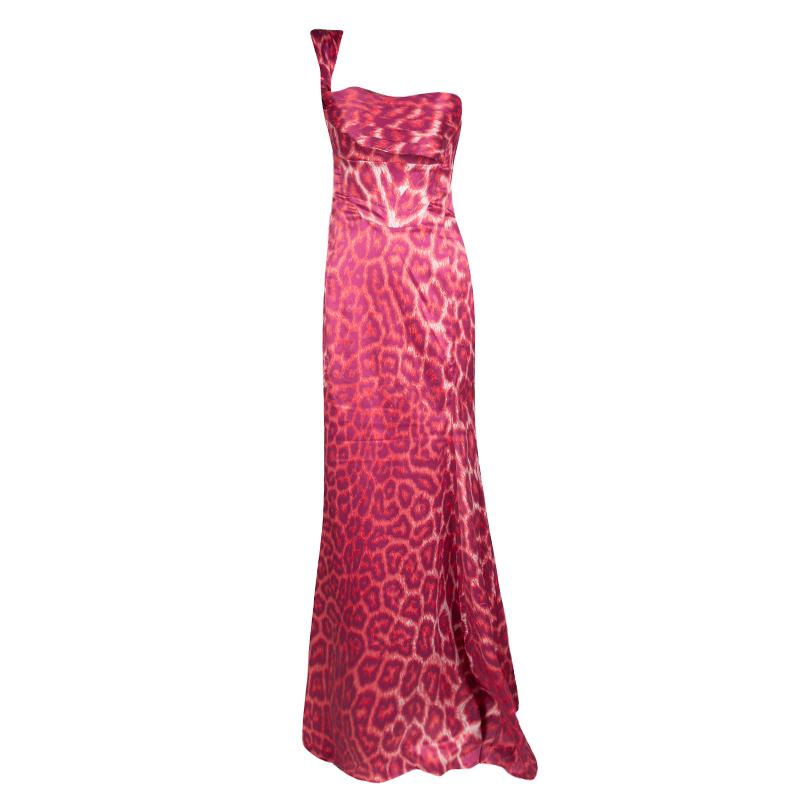 b64238413a9 ... Pink Leopard Printed Satin Pleat Detail One Shoulder Maxi Dress S.  nextprev. prevnext