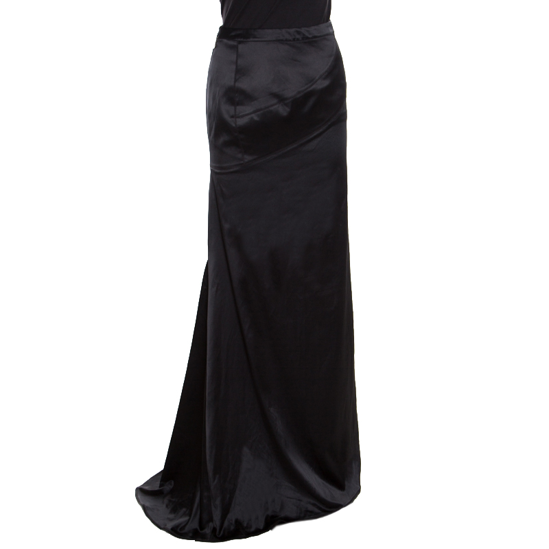 good service hot-seeling original official images Just Cavalli Black Satin Maxi Skirt M