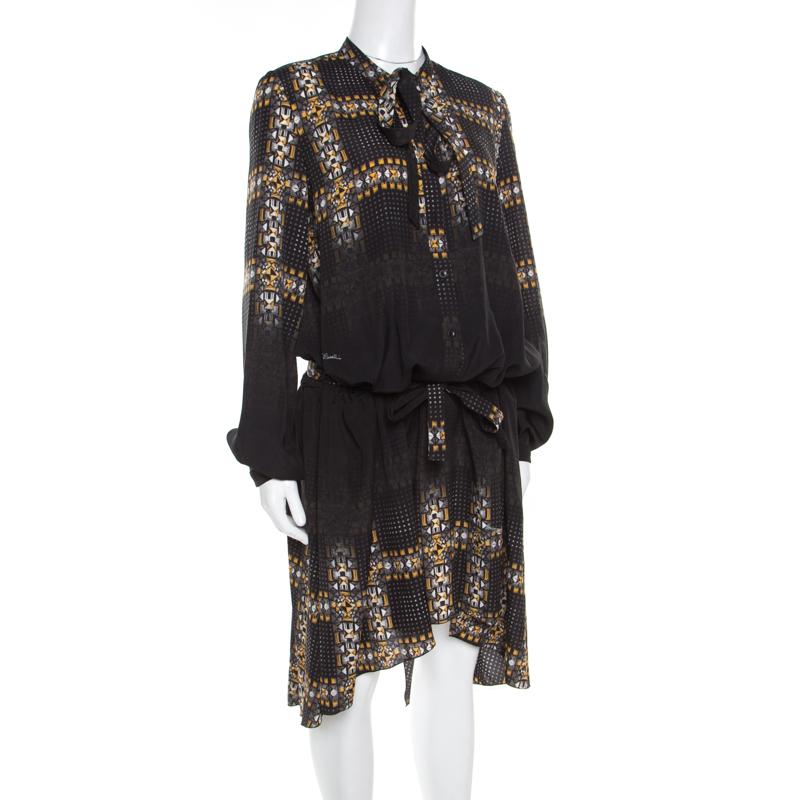 Just Cavalli Noir Imprimé Géométrique Ceinturée À Manches Longues Robe De M