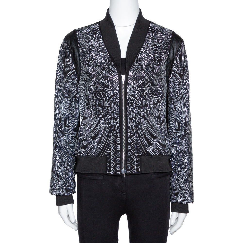 Pre-owned Just Cavalli Black Crepe Embellished Bomber Jacket M