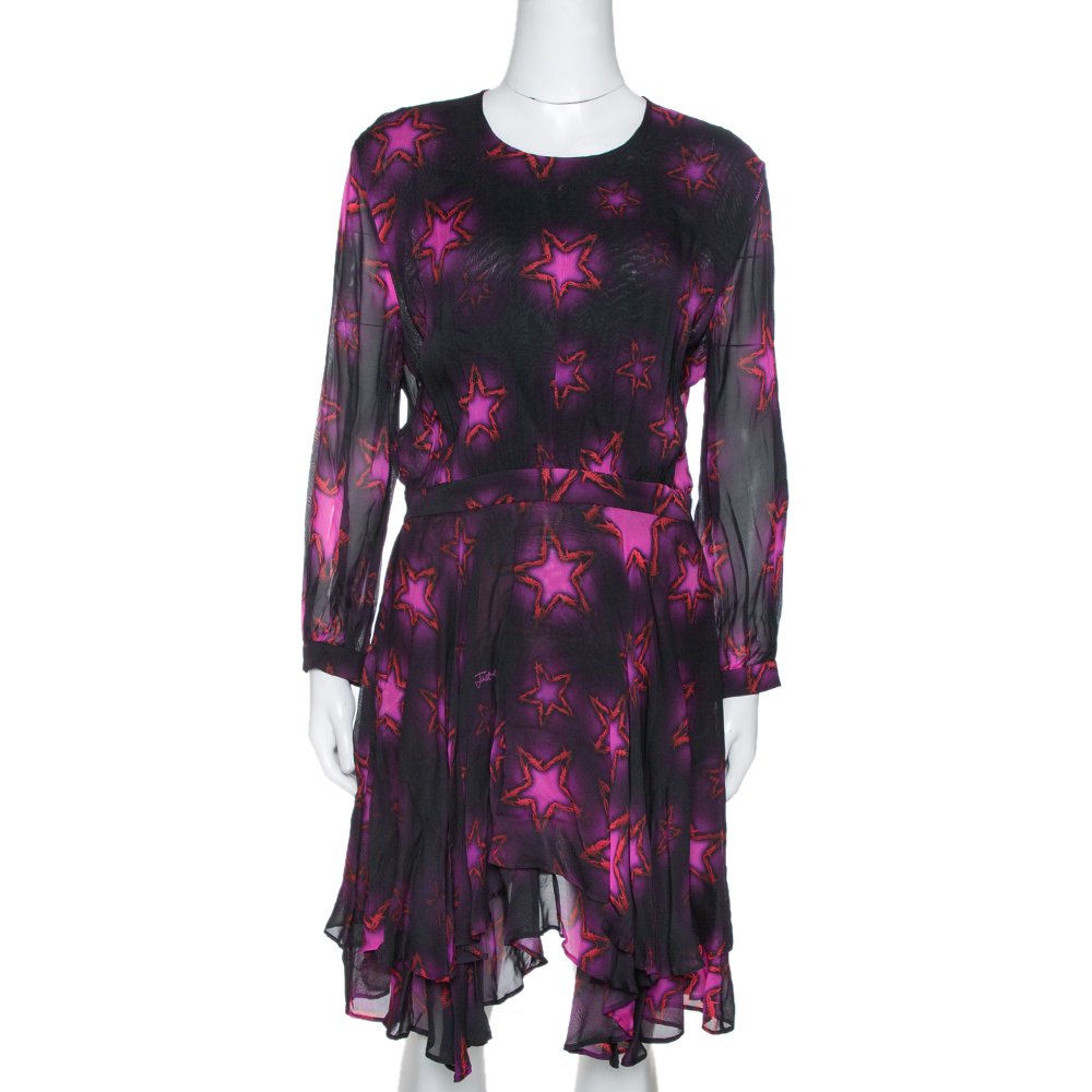 Pre-owned Just Cavalli Fuchsia Chiffon Star Print Flared Dress M In Pink