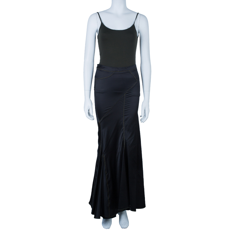 diversified latest designs enjoy discount price great varieties Just Cavalli Black Satin Fishtail Maxi Skirt S
