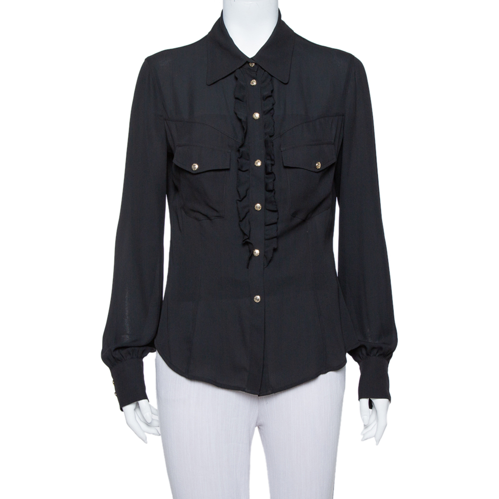 Pre-owned Just Cavalli Black Crepe Ruffle Detail Button Front Shirt L