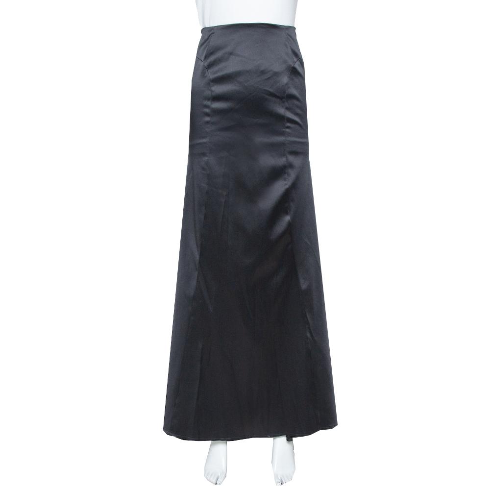 Pre-owned Just Cavalli Black Satin Train Detail Maxi Skirt L