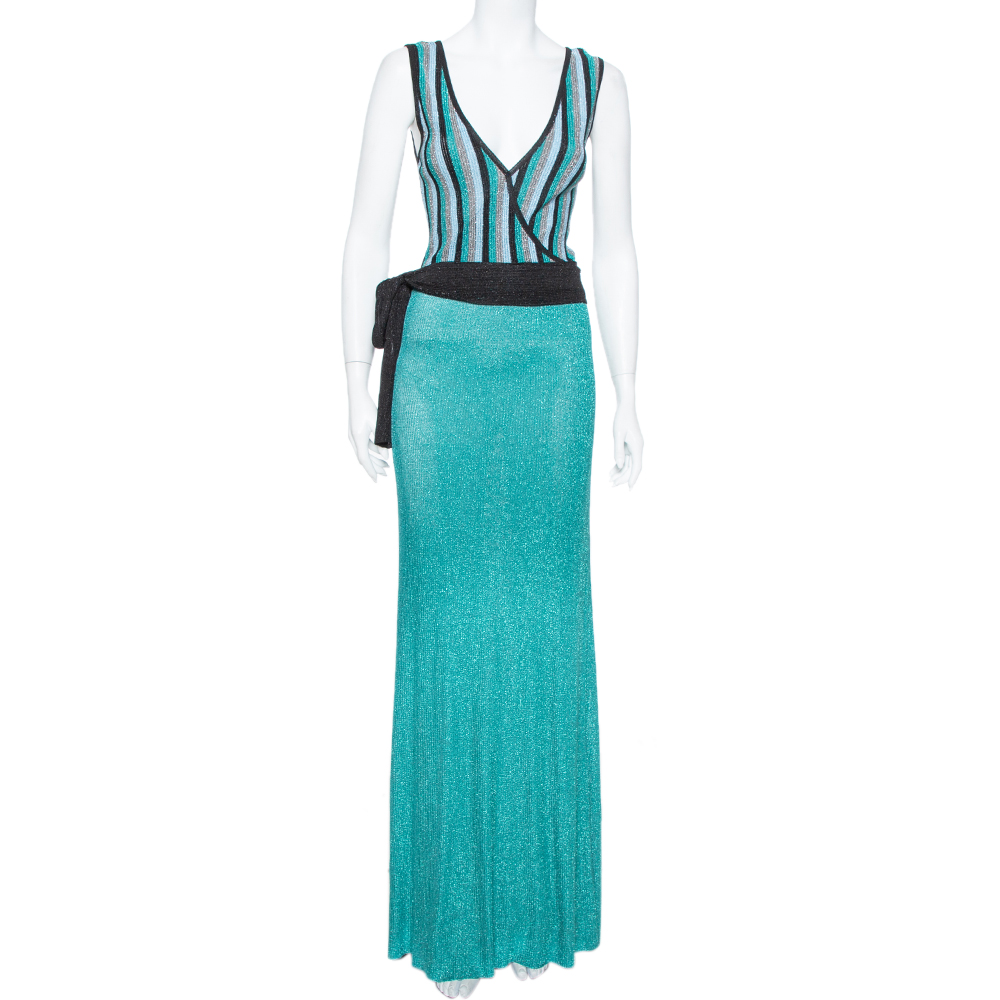 Pre-owned Just Cavalli Sea Blue Lurex Knit Contrast Striped Belted Maxi Dress M