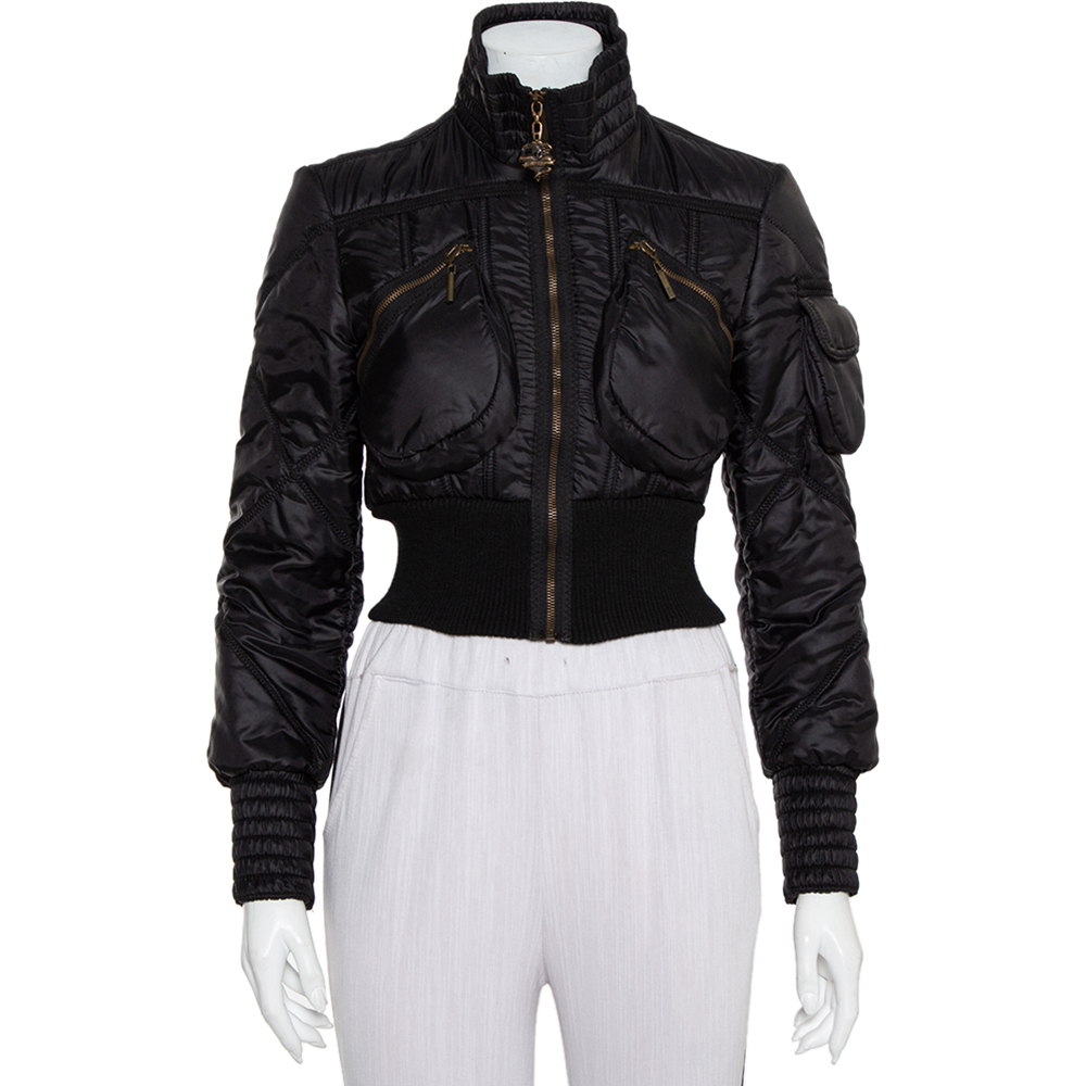 Pre-owned Just Cavalli Black Synthetic Quilted Cropped Bomber Jacket M
