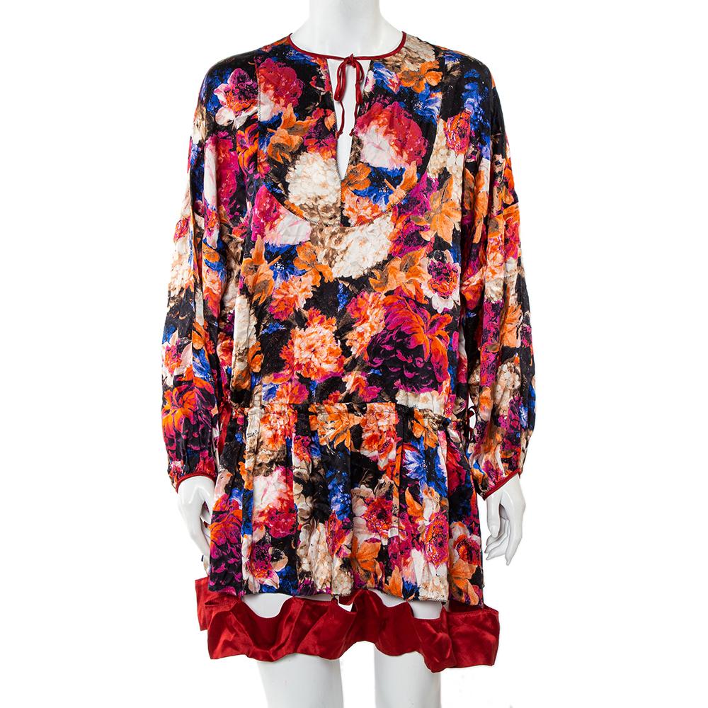 Pre-owned Just Cavalli Multicolor Silk Satin Cutout Hem Detail Oversized Mini Dress M
