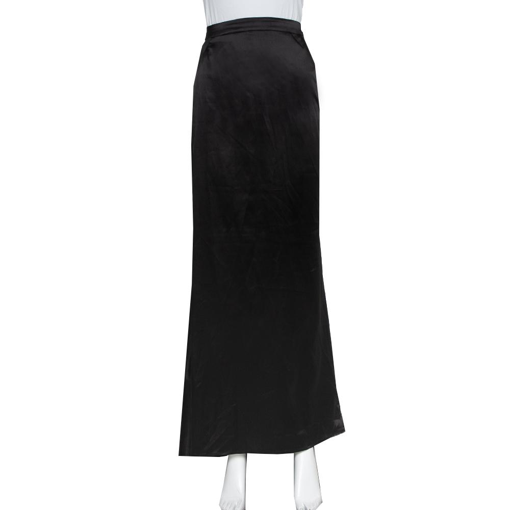 Pre-owned Just Cavalli Black Satin Asymmetrical Hem Maxi Skirt L
