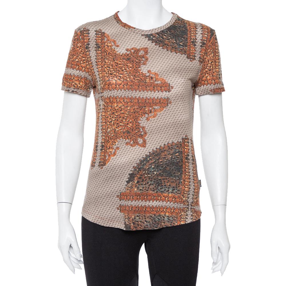 Pre-owned Just Cavalli Brown & Beige Printed Knit Short Sleeve Top L