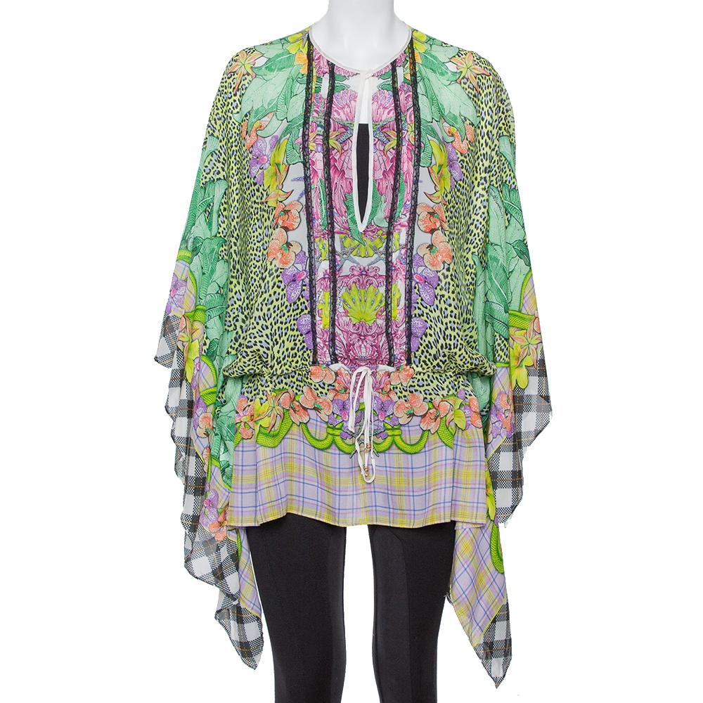 Pre-owned Just Cavalli Multicolor Printed Silk Waist Tie Detail Kaftan Tunic M