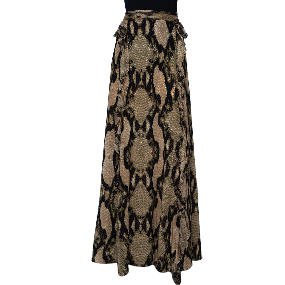 Pre-owned Just Cavalli Multicolor Snakeskin Printed Silk Ruffled Maxi Skirt L