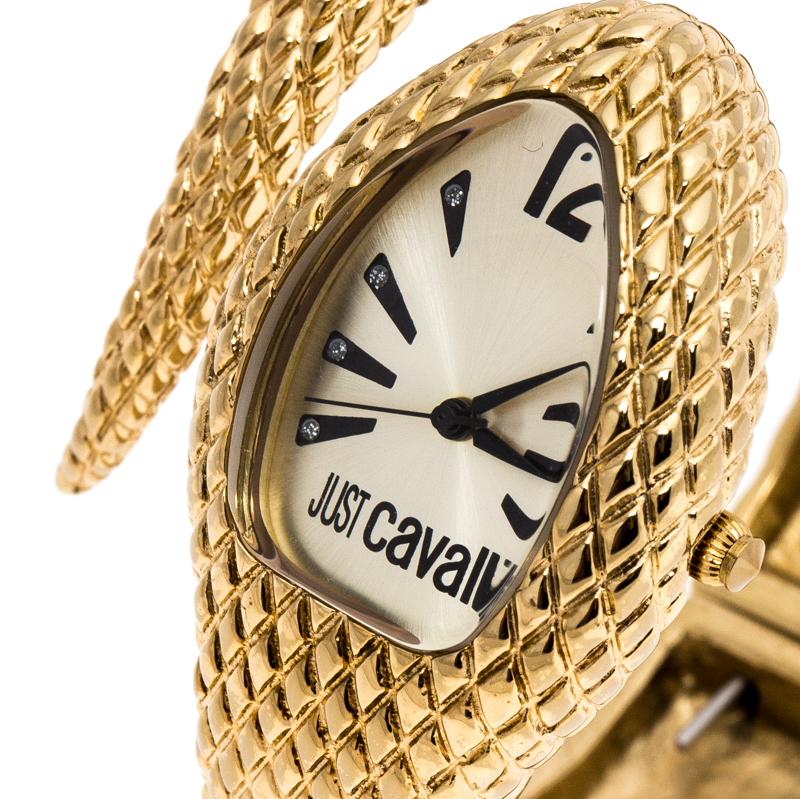 Just Cavalli Champagne Plaqué Or en Acier Inoxydable Bracelet Serpent Poison Femmes montre-Bracelet de 27 mm
