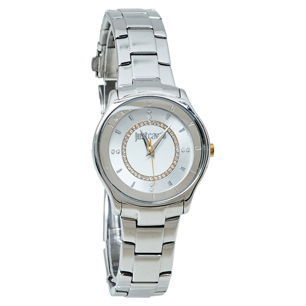 Pre-owned Just Cavalli Silver Two Tone Stainless Steel 7253587501 Milady Women's Wristwatch 34mm