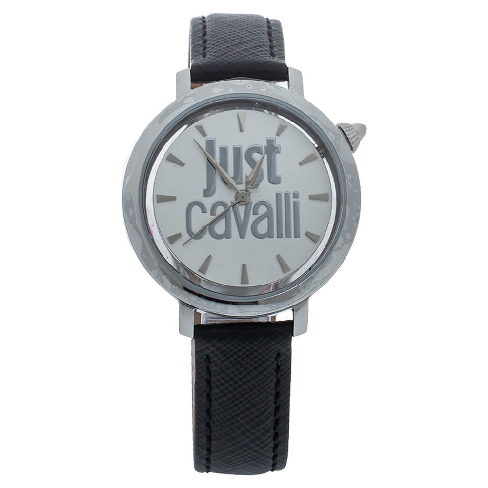 Pre-owned Just Cavalli White Stainless Steel Logo Jc1l007l0015 Women's Wristwatch 34mm
