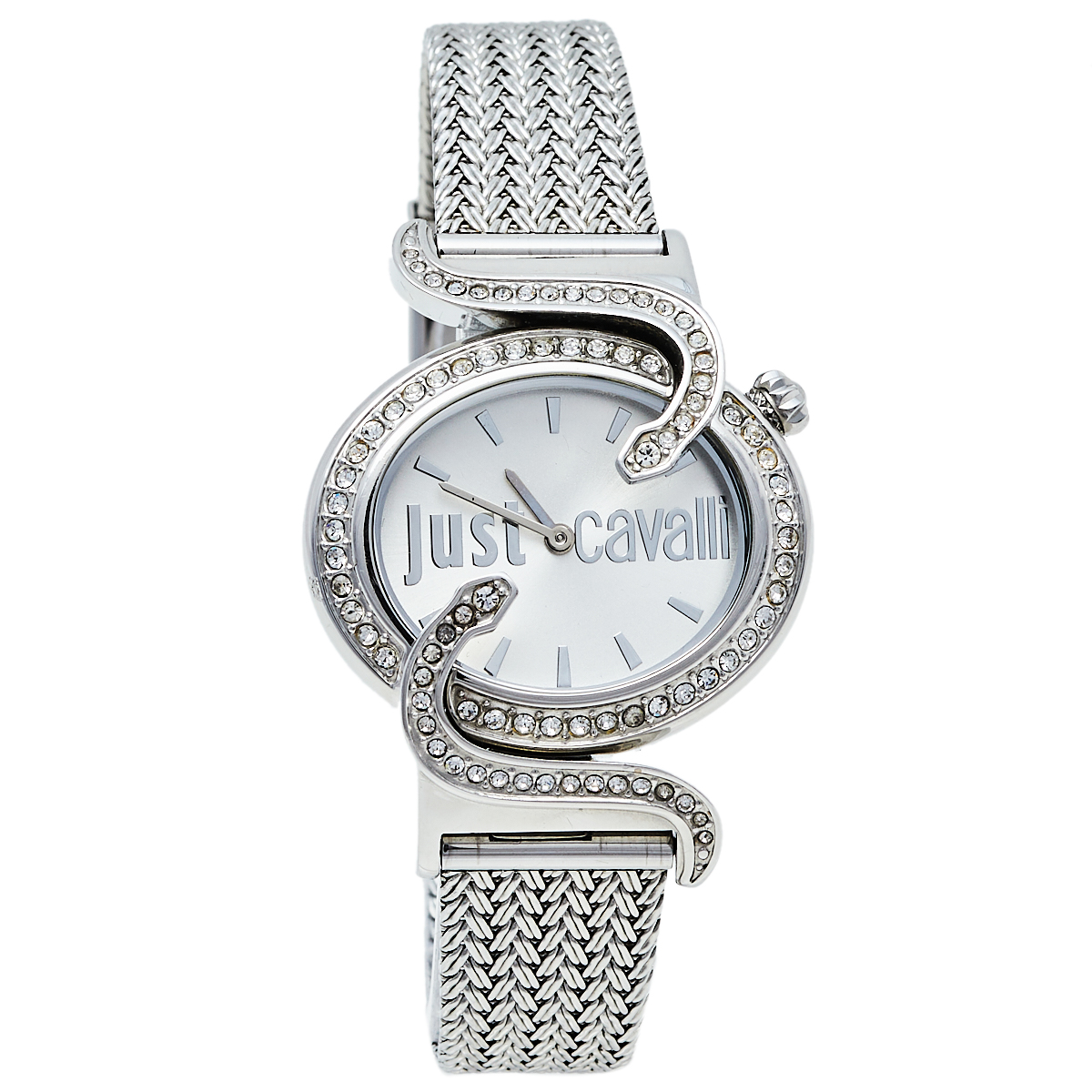 Pre-owned Just Cavalli Silver Stainless Steel Sin R7253591503 Women's Wristwatch 35 Mm