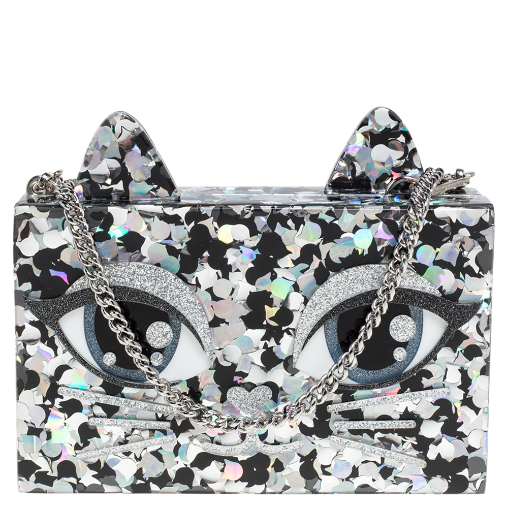 Pre-owned Karl Lagerfeld Black/silver Glitter Acrylic Choupette Minaudiere Chain Box Clutch