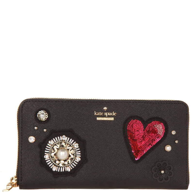 503d36bc7008 Buy Kate Spade Black Leather Finer Things embellished Lacey Zip ...